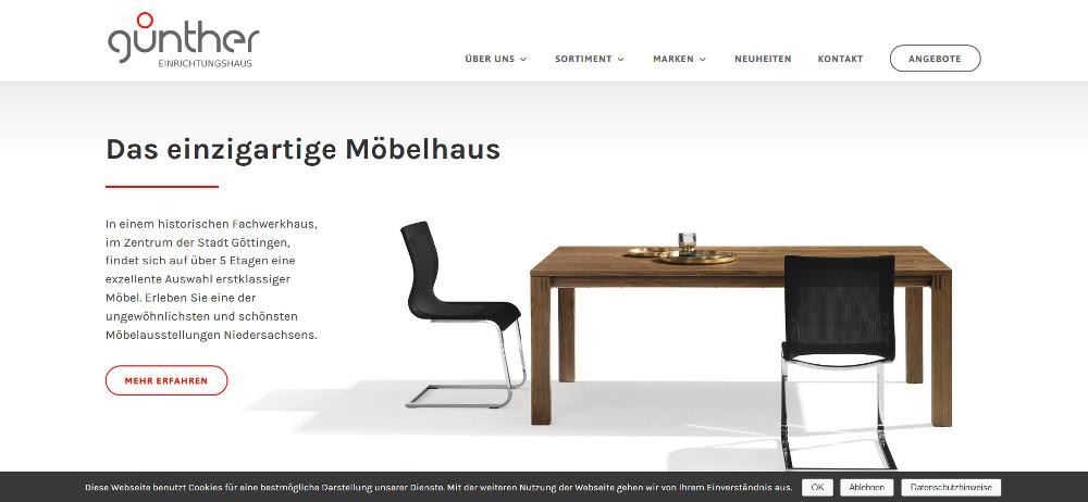 Responsive Webdesign - Günther Einrichtungshaus Startseite